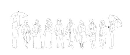 Set of different people characters in cold weather outfit. Crowd of people in different poses, walking, standing outdoors. Isolated on white. Flat style monochrome cartoon stock vector illustration.. Illustration