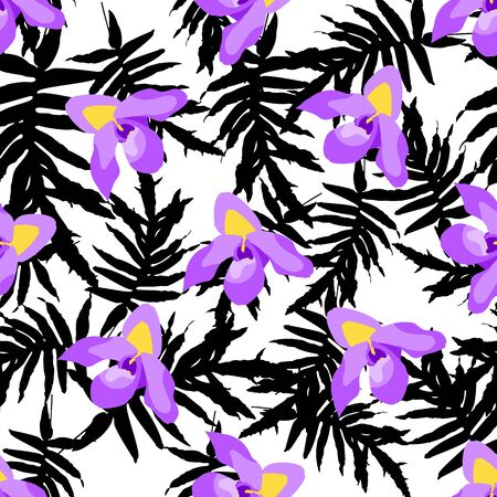 Colorful trendy seamless pattern with orchid flowers, tropical leaves. Watercolor style stock vector illustration. Illustration