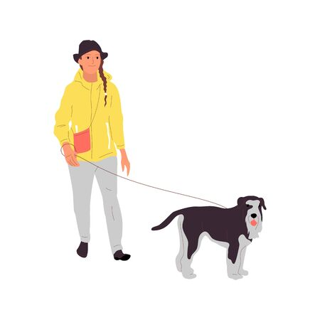 Young girl is walking with a terrier dog on a leash. Isolated on white background. Flat style cartoon stock vector illustration..