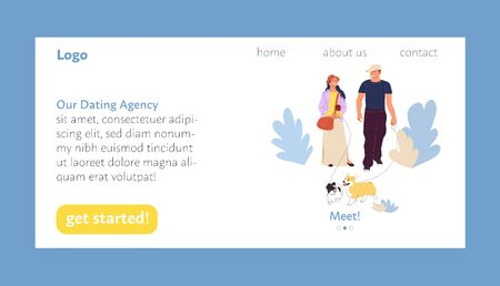 Dating agency landing page user interface design template, happy couple meeting and falling in love. Stock vector