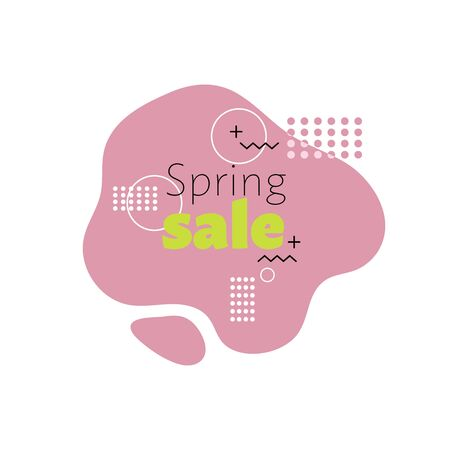 Promotional banner in memphis style with text spring sale, advertising template. Stock vector illustration. Illustration