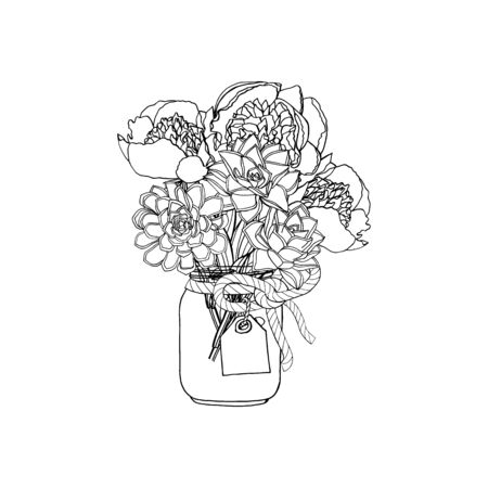 Hand drawn doodle style bouquet of different flowers, peony, succulents. isolated on white background. stock vector illustration