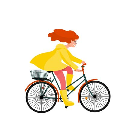 Beautiful girl in yellow raincoat rides bicycle, bike travel clip art. Stock vector illustration. 일러스트