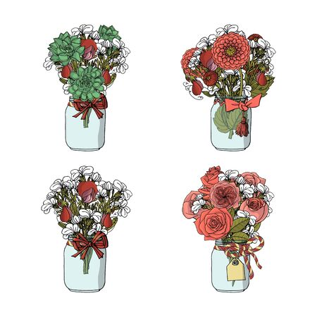 Hand drawn doodle style bouquets of different flowers, rose, dahlia, stock flower, sweet pea, succulent. isolated on white background. stock vector illustration
