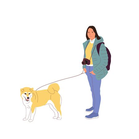 Young girl is walking with a shiba inu dog on a leash. Isolated on white background. Flat style cartoon stock vector illustration..