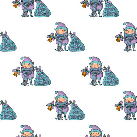 Seamless pattern with Cute funny cartoon character christmas elf with long scarf holding two handbells, very merry christmas lettering Ilustracja