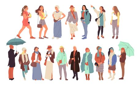 Set of different people characters in casual outfit. Crowd in different poses, walking, standing outdoors. Isolated on white. Flat style colorful cartoon stock vector illustration..