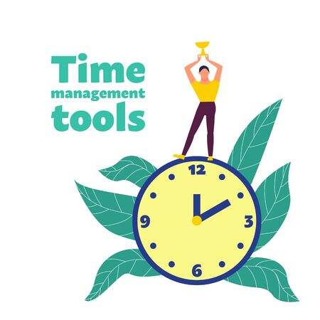Time management concept. Man holds golden cup standing on big clock. Time management tools text. Flat style stock vector illustration. Isolated on white background. Illustration