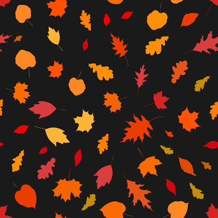Colorful seamless pattern with autumn leaves on black background, stock vector illustration.