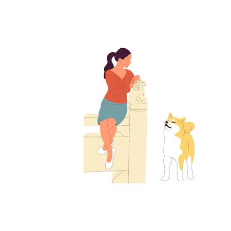 Girl is sitting with a shiba inu dog outdoors. Isolated on white background. Flat style cartoon Stock Vector - 133514506