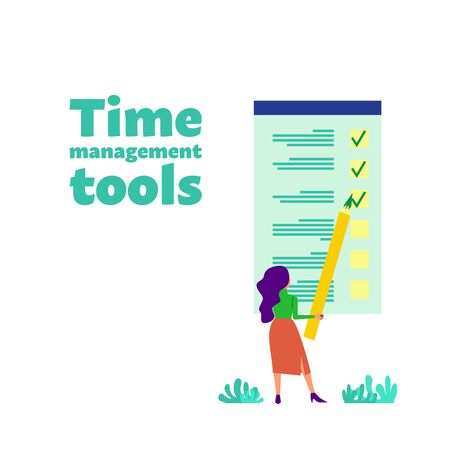Time management concept. Woman holds yellow pencil standing near big to do list. Time management tools text. Flat style stock vector illustration. Isolated on white background.