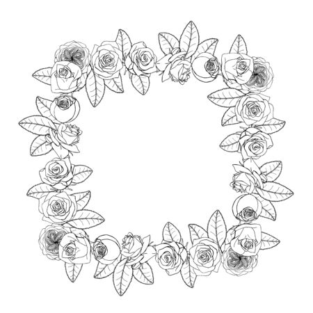 Hand drawn doodle style rose flowers square wreath. floral design element. isolated on white background. stock vector illustration