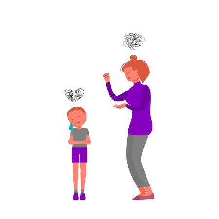 Frustrated angry face mother screams at crying son, little boy is upset. Isolated on white background. Flat style stock vector illustration.