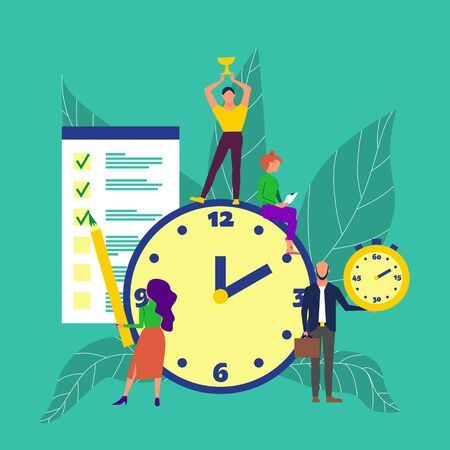 Time management concept art. Group of people around big clock, man holds golden cup, woman marks task done, man holds stopwatch. Flat style stock vector illustration. Stock Vector - 133514524