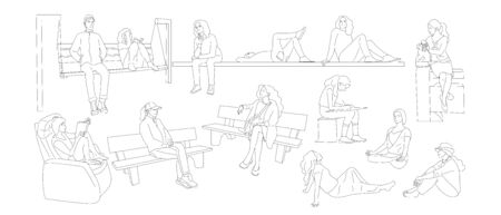 Set of sitting people. Bundle of women sitting on grass, benches. Isolated on white background. Flat style cartoon stock vector illustration.. Ilustracja