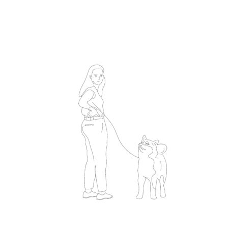 Young girl in casual outfit is walking with a shiba inu dog on a leash. Isolated on white background. Flat style monochrome black and white cartoon stock vector illustration.