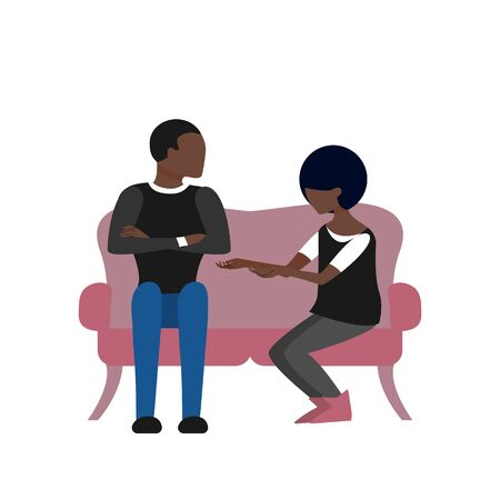 Black couple of man and woman are talking sitting on sofa. Flat style stock vector illustration.