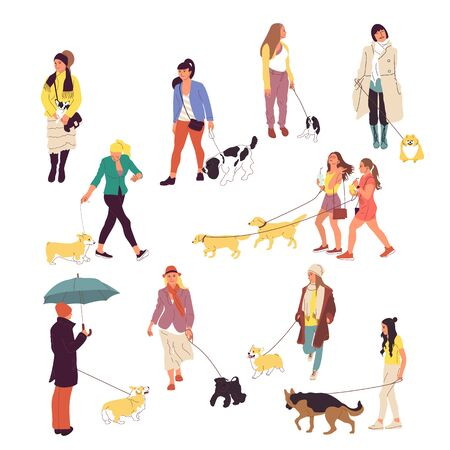 Set of many people walking with dogs on a leash. Isolated on white background. Flat style cartoon stock vector illustration.. Illustration