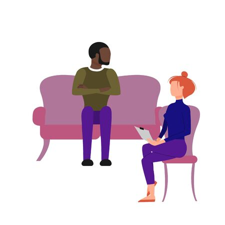 Scene of caucasian female therapist consulting black male patient. Flat style stock vector illustration. Illustration