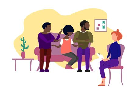 Married black polygamy family having therapeutical meeting at psychologist office. Three african american people sitting on a couch. Flat style stock vector illustration.