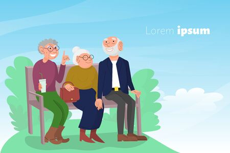 Three old friends sit on bench in park, happy elderly people enjoying outdoors, cheerful friendly chat of retired couple and friend. Sky and clouds background. Copy space. Flat style stock vector. Illustration