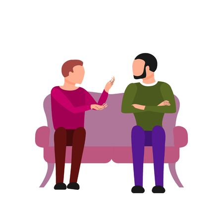 Caucasian couple of two men are talking sitting on sofa. Argue, fight, angry conversation. Flat style stock vector illustration. Illustration