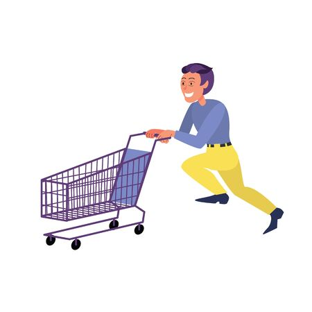 Caucasian adult man running with empty shopping cart. Flat style stock vector illustration, isolated on white background.