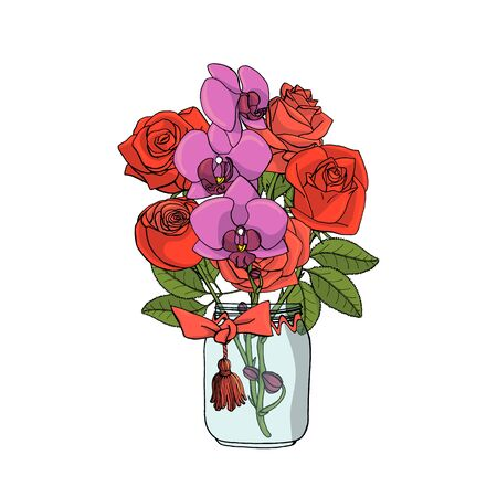 Hand drawn doodle style bouquet of red roses and violet orchids. Isolated on white background. Stock vector illustration.