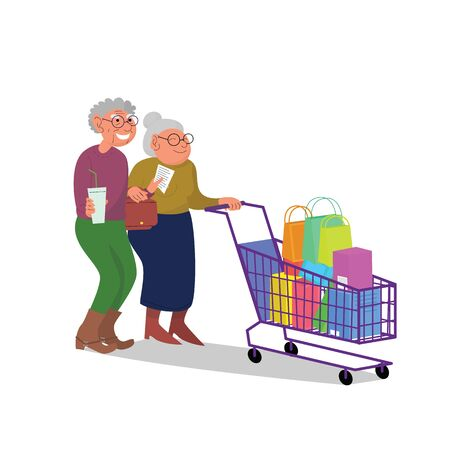 Caucasian elderly retired couple walking with shopping cart full of purchases. Flat style stock vector illustration, isolated on white background Standard-Bild - 137051312