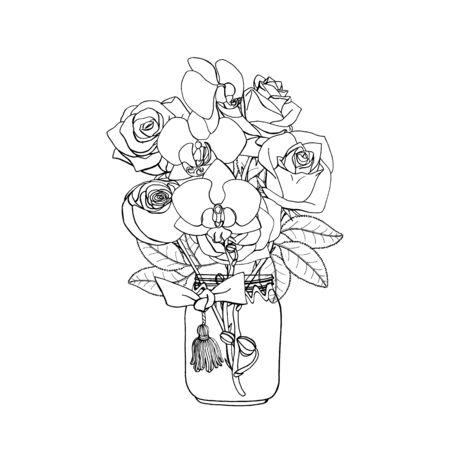 Hand drawn doodle style bouquet of black and white roses and orchids. Isolated on white background. Monochrome Stock vector illustration Standard-Bild - 137051318