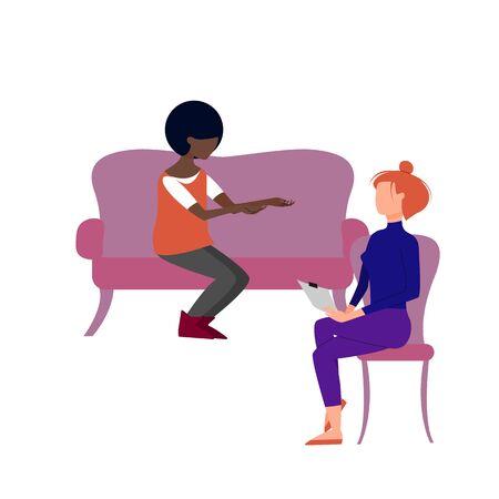 Scene of caucasian female therapist consulting black female patient. Flat style stock vector illustration Standard-Bild - 137051324
