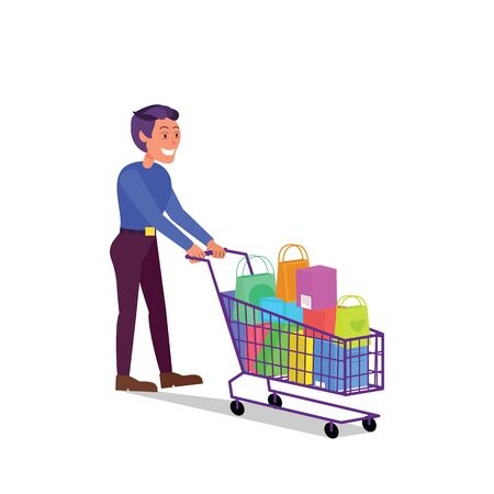 Caucasian adult man walking with shopping cart full of purchases. Flat style stock vector illustration, isolated on white background Standard-Bild - 137051329
