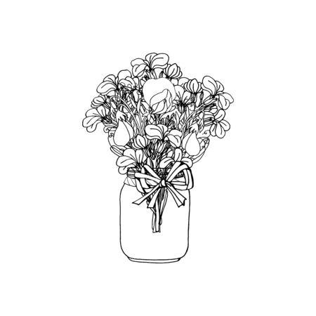 Hand drawn doodle style rustic bouquet of black and white stock flower and sweet pea. Boho wedding decoration. Isolated on white background. Monochrome Stock vector illustration Ilustracje wektorowe