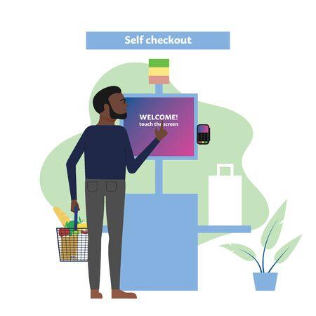 Dark skin male customer uses self checkout counter in supermarket, self service lane in grocery store. Flat style stock vector illustration Standard-Bild - 137051335
