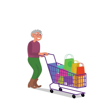 Caucasian elderly retired man walking with empty shopping cart. Flat style stock vector illustration, isolated on white background Standard-Bild - 137051337