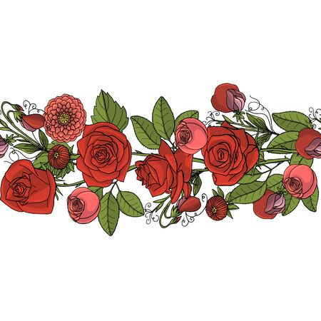 Hand drawn doodle style rustic bouquet seamless brush. Endless floral border. Boho wedding decoration. Isolated on white background. Stock vector illustration Standard-Bild - 137051340