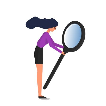 Woman holding big magnifying glass. Isolated on white background. Flat style stock vector illustration Standard-Bild - 137051342