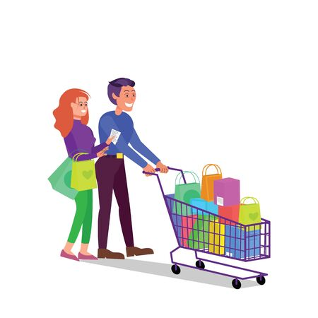 Caucasian adult couple walking with shopping cart full of purchases. Happy smiling man and woman in shop. Flat style stock vector illustration, isolated on white background Standard-Bild - 137051345