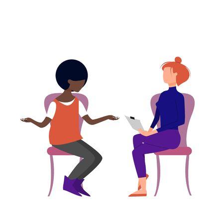 Scene of caucasian female therapist consulting black female patient. Flat style stock vector illustration Standard-Bild - 137051398