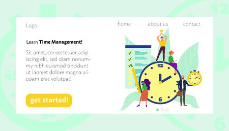 Landing page of time management learning. Flat style stock vector illustration Standard-Bild - 137051399