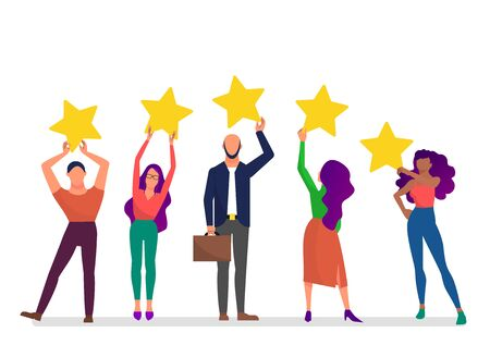 Customer feedback concept art, many people hold yellow rating stars. White background. Flat style stock vector illustration