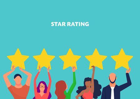 Concept art per il feedback dei clienti, molte persone hanno stelle di valutazione gialle. Copia spazio. Valutazione a stelle del testo. Sfondo blu. Illustrazione vettoriale d'archivio in stile piatto