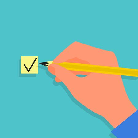 Caucasian human hand holding yellow pencil and checking the box. Vote concept. Blue background. Flat style stock vector illustration. Illustration