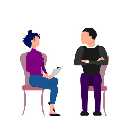 Scene of caucasian female therapist consulting male patient. Flat style stock vector illustration Illustration