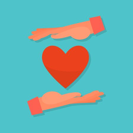 Caucasian human hands embrace red. Blue background. Flat style stock vector illustration.