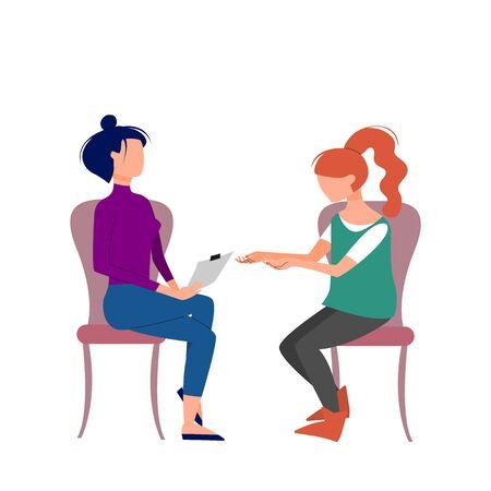 Escena del terapeuta de sexo femenino caucásico que consulta al paciente femenino. Ilustración vectorial de stock de estilo plano.