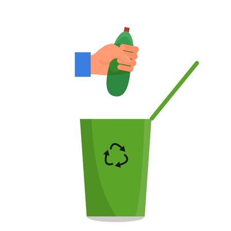 Caucasian human hand holding green plastic bottle in fist over the green trash can. Isolated on white background. Flat style stock vector illustration. Illustration