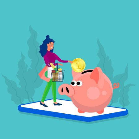 Woman holds shopping basket and putting big coin into piggy bank. Stand at big phone. Concept art of cash back, discount, saving while spending. Blue background. Flat style stock vector illustration.