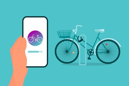 Hand is holding smart phone with bicycle sharing app loading on screen. Blue background. Flat style stock vector.