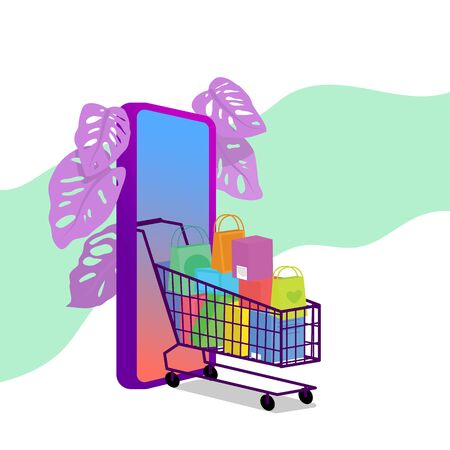 Shopping cart full of purchases. Big smart phone behind. Online shopping concept. Flat style stock vector illustration, isolated on white background